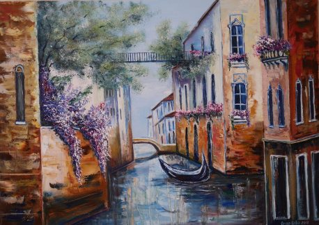 Oil painting with a picture of a street in Venice, with boats and houses. Italy.