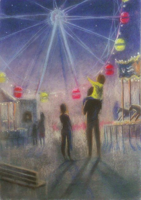 Merry-go-round.  Memories of summer. Pastel, paper50x70
