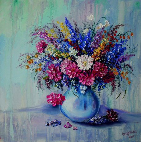 Still life with pink and blue flowers in a light vase