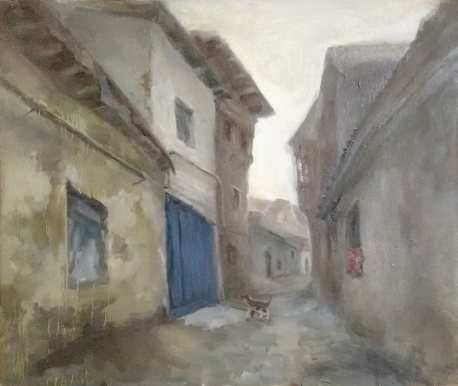 The street in Makhachkala (Dagestan) An old small street in the center of Makhachkala. Oil, canvas 50x60