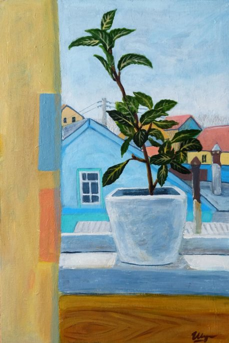 """Bay leaf on the window"", acrylic on canvas on cardboard, 40x60cm, 2017"