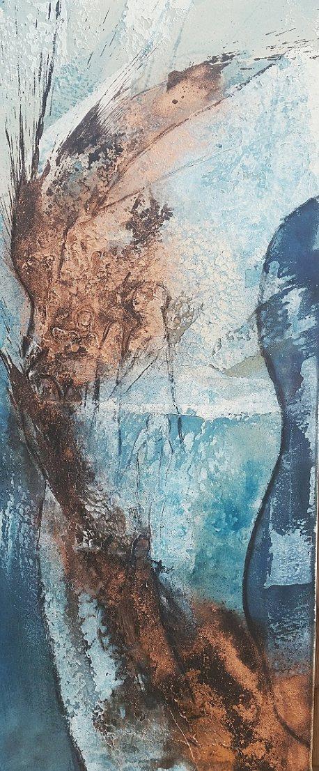 Zen in Struktur auf offener Leinwand  120 x 50 cm - Sumpfkalkarbeit