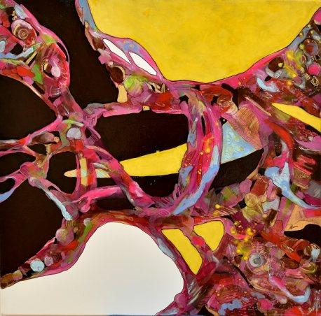 Acrilici, chine, pigmenti su tela. Cm.80x80. Anno 2017