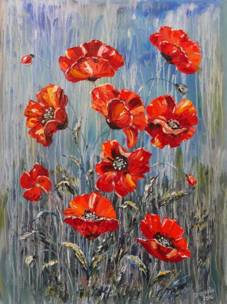 Red poppies. The background effect is the rain. Big picture with flowers