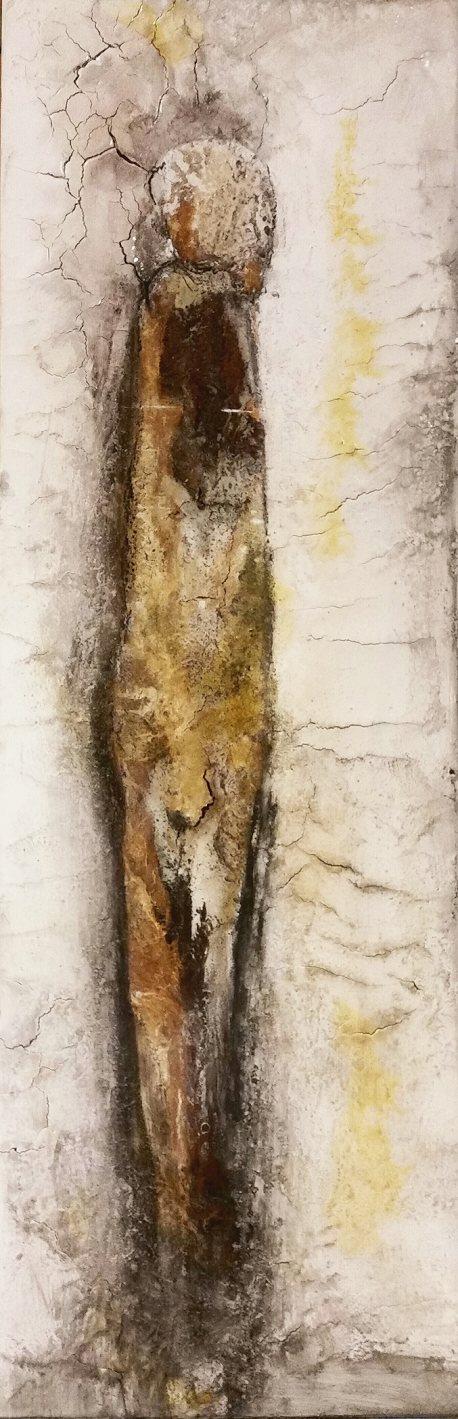 intuitive Prozessmalerei auf Leinwand  150 x 50 cm - Warmleimarbeit