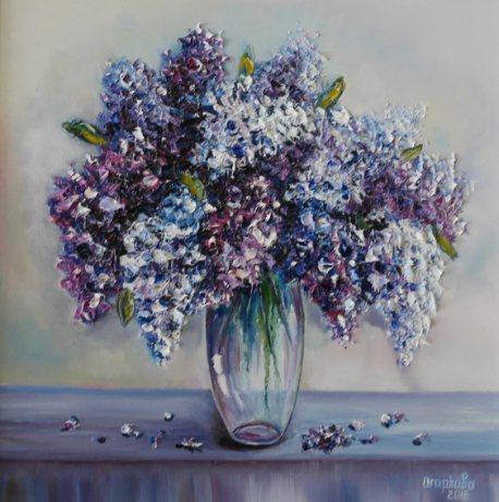 A gentle still-life with a lilac vase on the table. Painting with oil paints. Aharkava Tamara