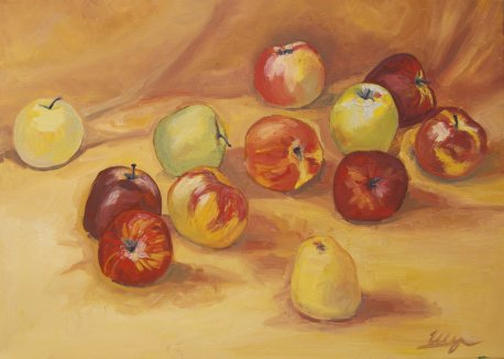 """Apples"", oil on canvas, 70x50, 2015"